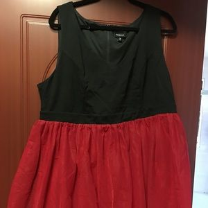 Red and black puffy dress